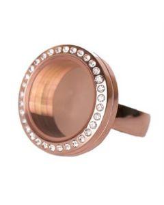 Rose Gold with Crystals Medium Locket Ring - Size 8