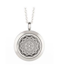 Floral Essential Oil Locket Silver